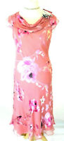 New Jacques Vert dress 12 Chiffon Silk devore floral Flute Pink rrp £179