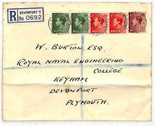 Dd160 1937 Gb Keviii Franking Registered *Keyham Devonport* Cds Naval {samwells}