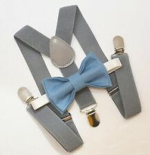 Kids Boys Mens Gray Suspenders & Steel Blue Bow tie Baby Infant - ADULT SET