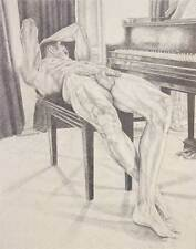 "9"" x 12"" drawing print nude male reclined at the grand piano gay interest"