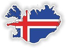 Iceland Island LandKarte Flagge Aufkleber Silhouette Motorrad Fahne Auto Helm