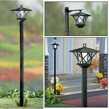 Post Pole Light Outdoor Garden Patio Driveway Yard Lantern Solar Lamp Fixture