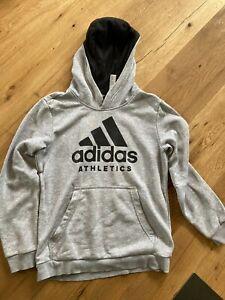 Adidas Hoodie Jungen Gr. 152, hellgrau/schwarz, schön, Kapuzenpulli