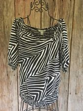 WHBM Blouse Shirt Zebra Print White House Black Market Short Sleeve Small S