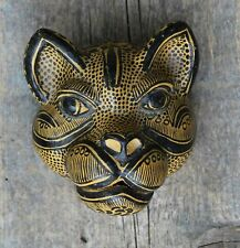 Wall Mask Jaguar Leopard Handmade Clay Amatenango Chiapas Mexico Folk Art Tribal