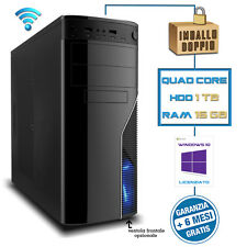 PC DESKTOP WINDOWS ORIGINALE COMPUTER Intel QUAD-CORE RAM 16GB 1TB WIFI DVD-RW