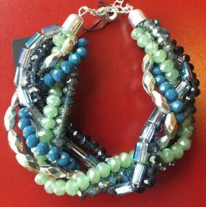 LADIE'S GREEN & BLUE TONAL BEADED BRACELET FASHION JEWELLERY WOMENS UK SELLER