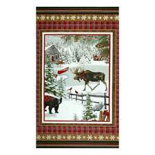 "Christmas Rustic Charm Animals Snow Cotton FLANNEL Fabric HG&Co 24""X44"" Panel"