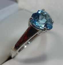 Beautiful 2.00 ct Blue Topaz Heart Solitaire Ring Sterling Silver Size 9 160-27K