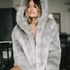 MISSGUIDED grey faux fur hooded coat size 4