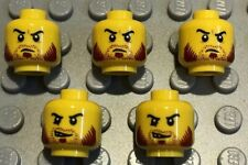 5 X NEW LEGO Yellow Male Heads Double Sided Sideburns Smirk Minifigures Lot 34