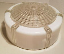 VINTAGE CLEAR & WHITE GLASS CEILING LIGHT SHADE