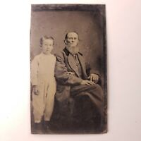 Antique (est. 1870's) Tintype - Old Man w/Beard & Child - Unknown Studio