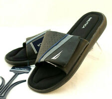 NWT NAUTICA Size 7 Black Montrell Athletic Slide Men's Comfort Sandals