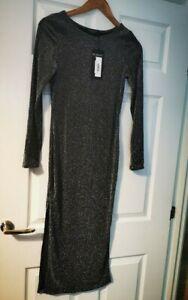 NEW! ASOS Scarlet Rocks Glitter Long Sleeve midi Dress with splits Silver UK 8