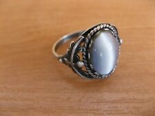 cat's eye ,Ussr (Russia) m Woman's beautiful silver 925,ring with stone