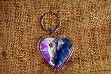 Greyhound Gift Keyring Dog Key Ring heart shaped gift Valentine