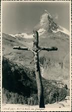 Suisse, Croix sur la route du Gornergrat et le Matterhorn, 1949, Vintage silver