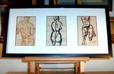 Original Study Drawings Male & Female Nudes  Cubist  Artist Signed Zazzaino M.D.