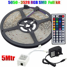 5050/3528 RGB LED Strip 12V Waterproof Kit 150/300/600 SMD Adapter + Remote UK