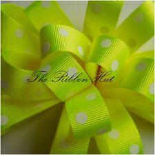 Berisfords 15mm Flo Neon Grosgrain Ribbon 4colours 4 Lengths 15mm X 2 Mtrs Yellow