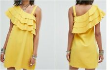 ROKOKO One Shoulder Dress with Frill in Yellow (th7)