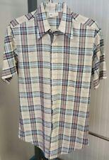 Vtg Jeans Joint Tall Sears Men's Store Short Sleeve Plaid Farmer Shirt Men's L