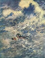 """Print. Illustration.  """"The Mermaid came to the Rescue""""  Edmund Dulac"""