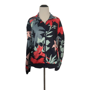 Champion Womens Small Floral Track Jacket Blue Red Pink
