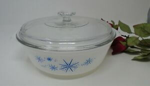 Anchor Hocking Fire King Atomic Star Casserole with lid 1 1/2 qt.