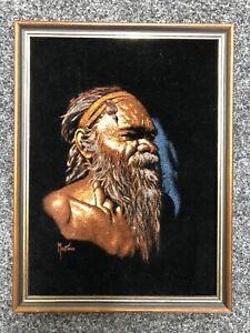 Vintage Martinus Australian Aboriginal Black Velvet Oil Painting