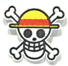 ONE PIECE Equipage chapeau de paille tête de mort écusson brodé 4.5x5 cm
