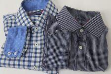 English Laundry Button Front Shirts Mens 16.5 34/35 Lot 2 Blue Plaid Flip Cuffs
