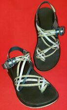 Chaco Women's Sport Sandals Size 6M  Teal & Yellow Triple  Strap With Buckle