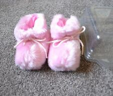 Girls Pink Fluffy Boots Slippers 6-12mths (max Foot 12cm) Brand New - TWINS