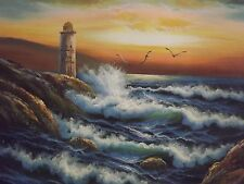 OCEANO mare grande dipinto a olio su tela arte contemporanea originale moderno FARO