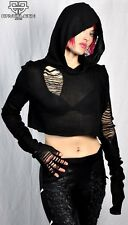 Black Widow Hooded Tattered Apocalyptic Style Mad Max Black Emo Goth Hoodie