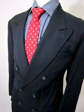 (40L) Mens City Streets Double Breasted Black Sport Coat Blazer Suit Jacket