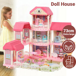 Large Dolls Doll House 3 Level Kids Pretend Play Toys Full Furniture Assembly