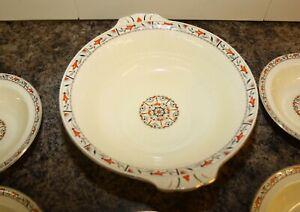 Art Deco Grindley England Fruit set Serving Bowl & 5 Dessert Bowls Orange Patten