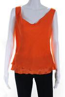 Escada Womens Silk Sleeveless Cowl Neck Blouse Top Orange Size 36