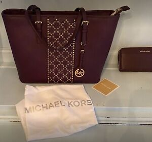 "New Purple eggplant Michael Kors purse 16"" wide x 10"" tall x 6"" deep, no flaws."