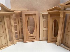Vintage NOS Dollhouse Wood Doors Frames Unfinished by Houseworks & more 7pcs