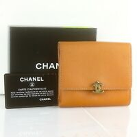 CHANEL CC Logos Leather Bifold Wallet Brown Gold HDW with GCard & Box