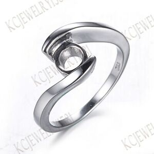 7mm Round Fine Jewelry Engagement Solitaire Semi Mount Ring Sterling Silver 925
