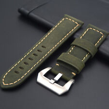 Leather strap in 24mm - Green 24/22mm compatible with Panerai watch, Breitling