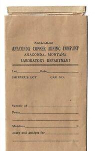 1930's Anaconda, Montana Mining Lab Report Envelop