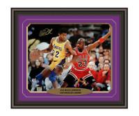 Magic Johnson Signed & Framed Lakers 16x20 PSA/DNA COA Michael Jordan Autograph
