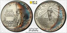 1986-P USA COMMEMORATIVE SILVER DOLLAR PCGS MS69 RAINBOW CRESCENT TONED (DR)
