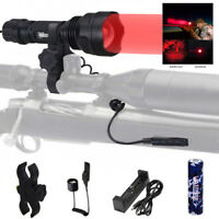 Zoom 5000LM Green/Red LED Flashlight Predator Varmint Hog Hunting Light w/Switch